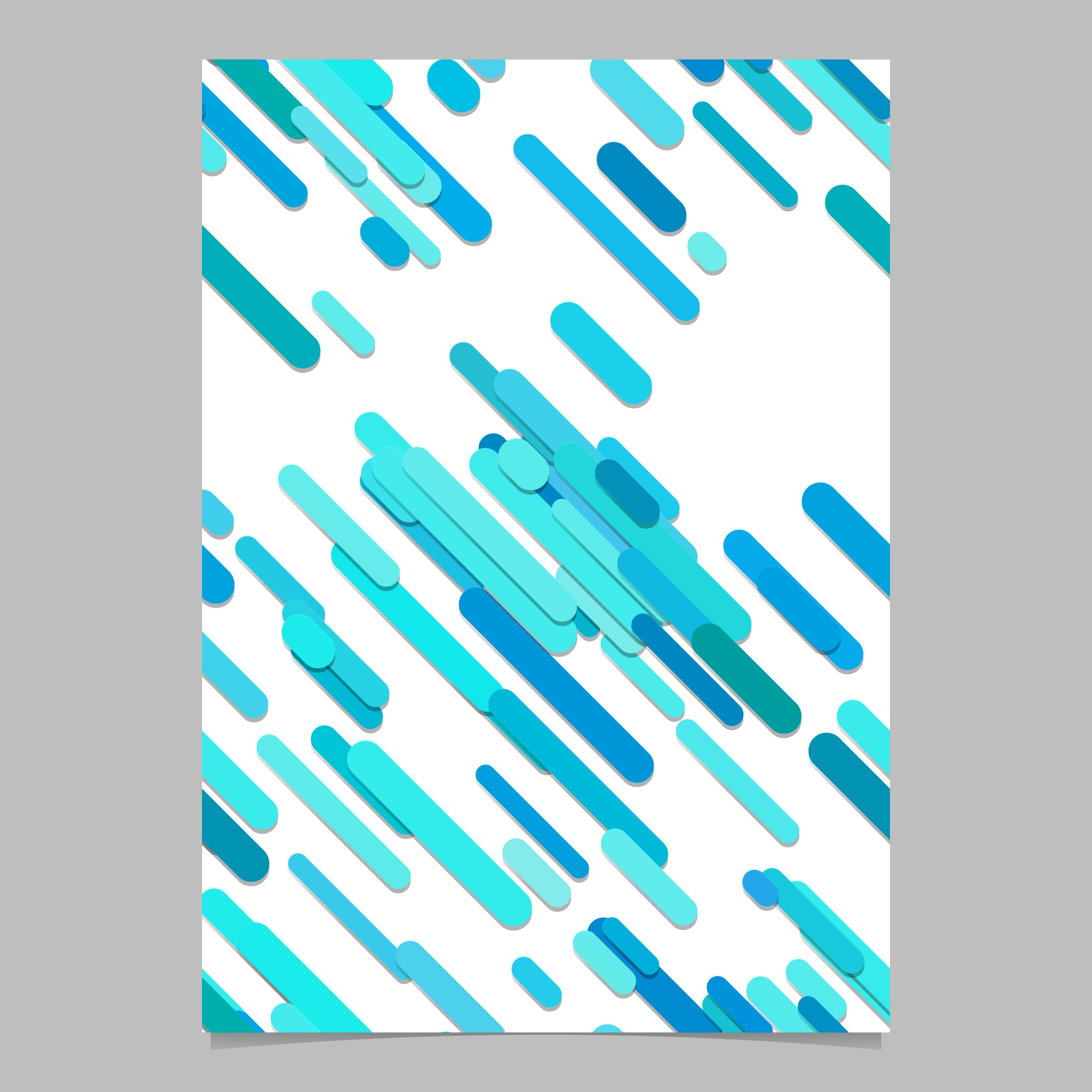 Seamless random diagonal stripe pattern flyer template - vector document background illustration with stripes in light blue tones