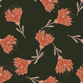 윤곽이 있는 분홍색 꽃 모양이 있는 원활한 임의 패턴입니다. 어두운 배경입니다. 재고 그림입니다. 섬유, 직물, 선물 포장, 월페이퍼에 대한 벡터 디자인.