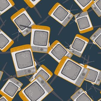 灰色のレトロなテレビテクニックプリントとシームレスなランダムパターン。濃いターコイズブルーの背景。テキスタイル、ファブリック、ギフトラップ、壁紙のフラットベクタープリント。無限のイラスト。