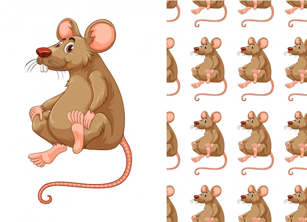 Seamless rat pattern cartoon