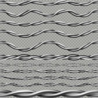 シームレスな現実的な電線ケーブルの境界。柔軟なエンドレスコンピュータコード、電話ケーブル、または電力線。透明な背景に分離されました。