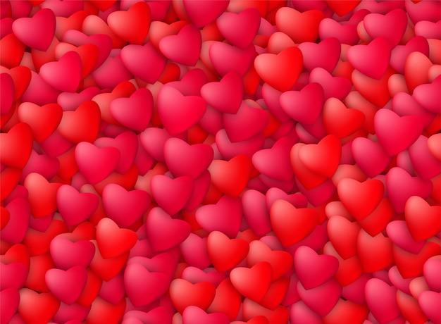 Modello di cuori realistici senza soluzione di continuità. amore, passione e concetto di san valentino.