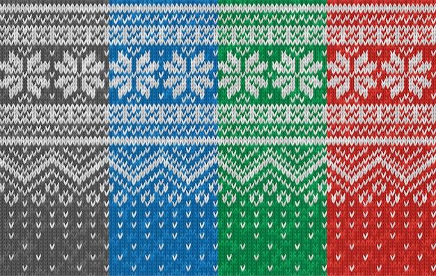 雪片とのシームレスなリアルなニットパターン。クリスマスホリデープリント。ウールニットの風合い。背景、壁紙、背景のニットウェアのベクトル冬イラスト。スカンジナビアスタイル。