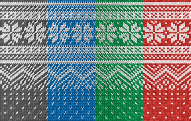 Seamless realistic knitted pattern with snowflakes. christmas holiday print. texture of wool knit. vector winter illustration of knitwear for background, wallpaper, backdrop. scandinavian style.