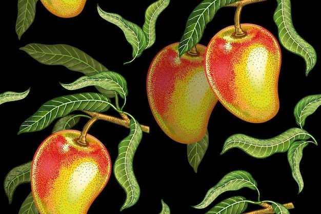 Бесшовные реалистичные вектор шаблон с фруктами и листьями манго