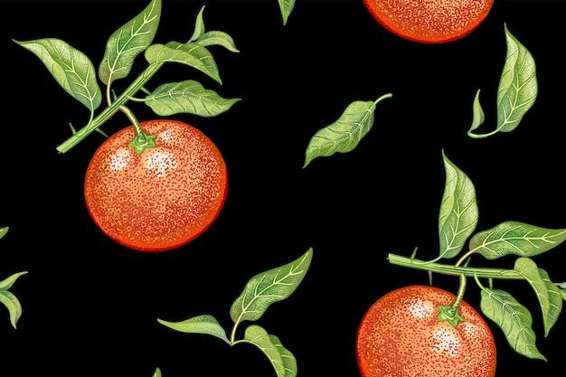 果物と葉のみかんとのシームレスなリアルなベクトルパターン Premiumベクター