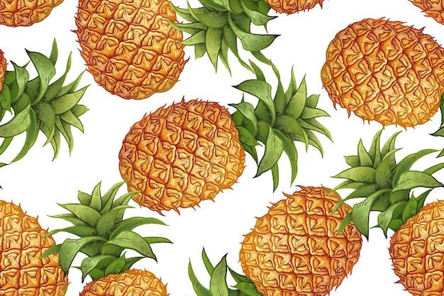 Бесшовные реалистичные вектор шаблон с фруктами ананас