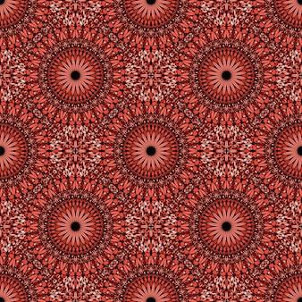 Seamless red bohemian gemstone mandala ornament pattern