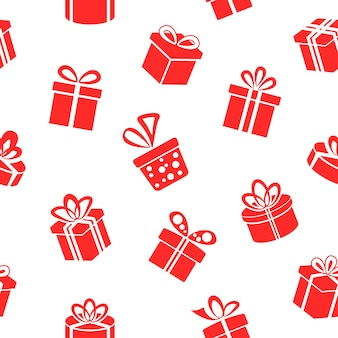 Seamless red gift boxes pattern