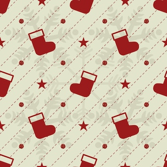 Seamless red glitter christmas pattern background with red sock and snowflake