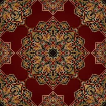 Seamless red pattern with ornamental mandalas.