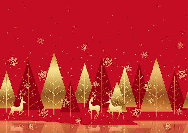 Seamless red winter forest background with reindeers and text space. horizontally repeatable.