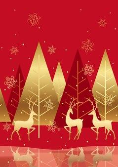 Бесшовные красный зимний лес фон с пространством для текста. горизонтально повторяемый.
