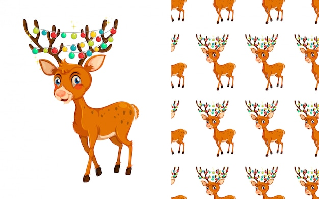 Seamless reindeer animal pattern cartoon
