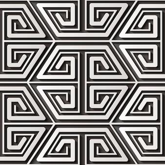 シームレスなレリーフ装飾レトロパターン