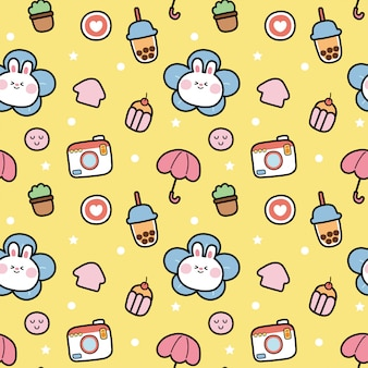Seamless repeat pattern of cute rabbit cartoon on yellow
