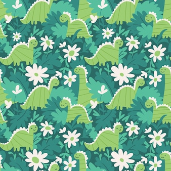 Seamless repeat pattern with cute dinosaurs leaves and flowers