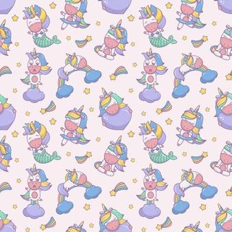 Seamless repeat pattern with fabulous unicorns
