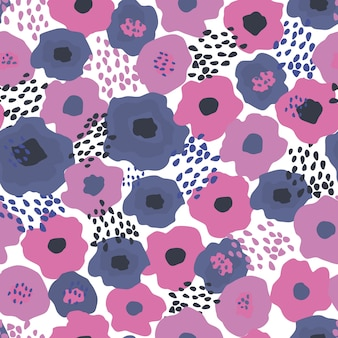 Seamless repeat pattern with flowers on white background.
