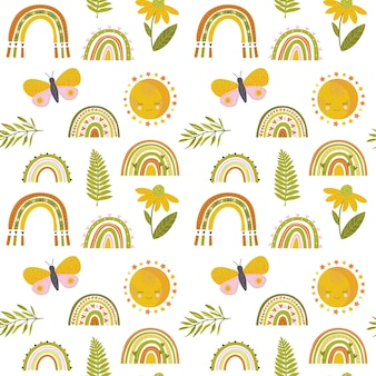 Seamless repeat pattern with sloppy thick hand drawn marker squiggly uneven rainbows in earthy indie modern mustard brown blush sage maroon colors half-drop on a cream ivory background