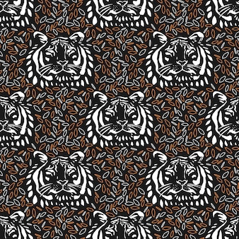 Seamless repeat pattern with tiger face on abstract background. vector illustration hand-drawn.