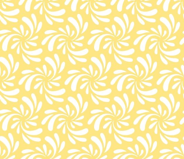 노란색 배경에 흰색 소용돌이 반짝임이 있는 원활한 반복 패턴