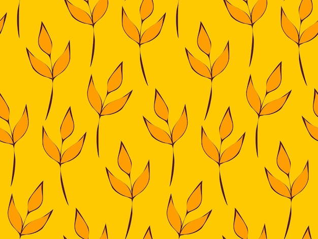 Seamless repeating pattern of flowers and plants. decorative beautiful garden of wildflowers. botanical leaves and floral pattern for design. abstract minimalistic modern wallpaper. vector background.
