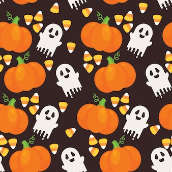 Seamless repeating pattern of halloween elements