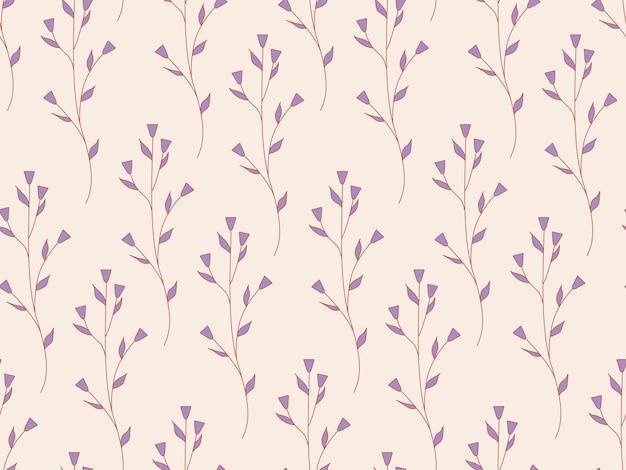 꽃과 식물의 원활한 반복 패턴입니다. 야생화의 장식적인 아름다운 정원. 디자인을 위한 식물 잎과 꽃 패턴입니다. 추상 최소한의 현대 벽지. 벡터 배경입니다.