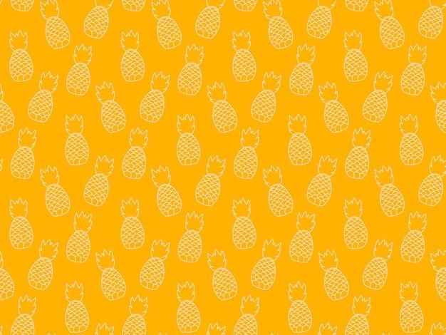 Бесшовные повторяющийся узор из растений ананаса. фруктовый дизайн тропический узор. абстрактные минималистичные современные обои. фон векторные иллюстрации. желто-белый.