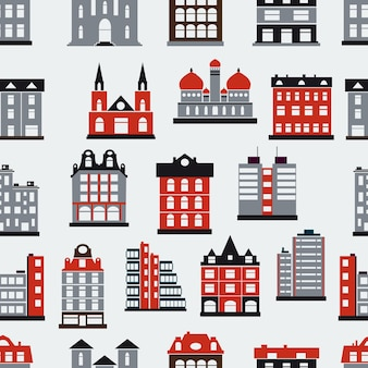 都市をテーマにしたシームレスな繰り返しパターン
