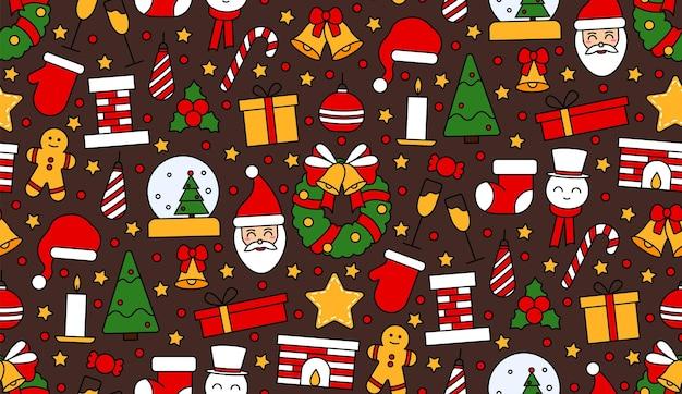 크리스마스와 새 해 복 많이 받으세요 기호로 완벽 한 반복 패턴입니다. 엽서, 직물, 배너, 축하용 템플릿, 포장지를 위한 빈티지 전통 스타일. 벡터 평면 그림입니다.