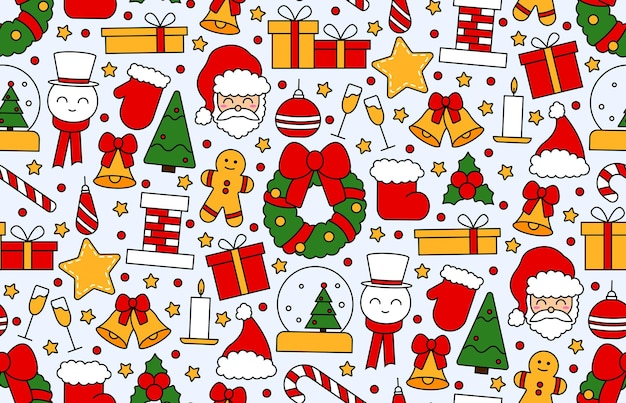 Seamless repeating pattern with christmas and happy new year symbols. in vintage traditional style for postcard, fabric, banner, template for congratulations, wrapping paper. vector flat illustration.