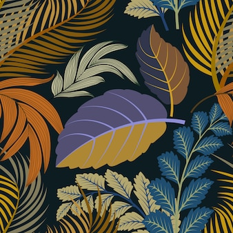 Seamless repeating pattern with colorful  tropical leaves