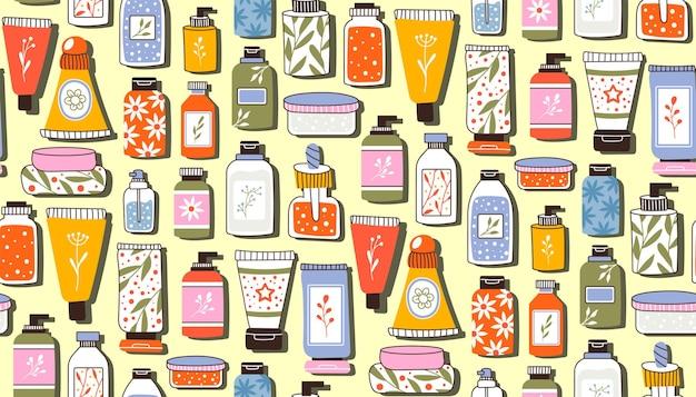 化粧品とのシームレスな繰り返しパターン。ボトルとチューブのセット、顔、髪、ボディクリームを使ったスキンケア用の瓶。はがき、バナー、包装紙のテンプレートのファッションスタイル。ベクター。