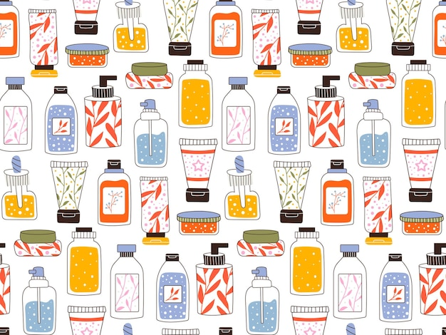 Seamless repeating pattern with cosmetics. a set of bottles and tubes, jars for skin care with face, hair and body cream. fashion style for a postcard, banner, template for wrapping paper. vector.