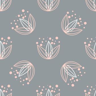 クリーム色の背景にパステルカラーの花の要素とのシームレスな繰り返しパターン。