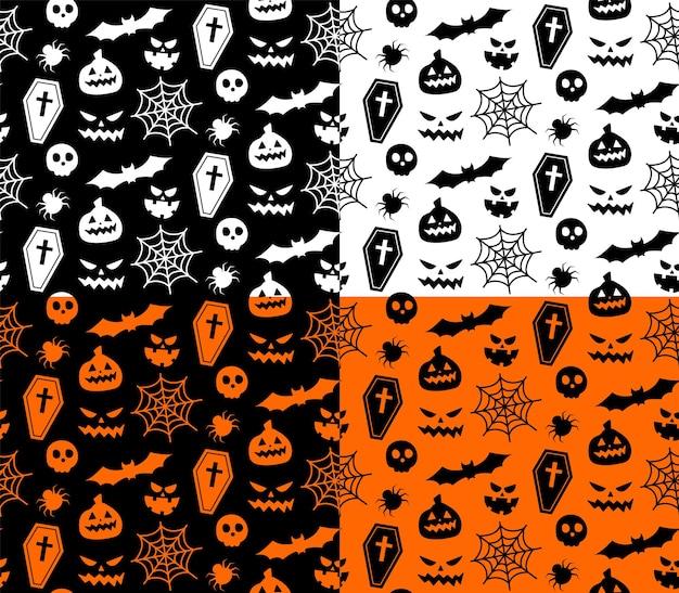 ハロウィーンのシンボルとのシームレスな繰り返しパターン。休日のハロウィーンのシルエットのデザイン。はがき、布、バナー、テンプレート、包装紙用。ベクトルフラットイラスト。