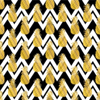 Seamless repeating pattern with pineapples in gold.