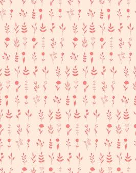 Бесшовные повторяющийся узор с растениями и цветущими цветами. органическая косметика с силуэтом травяной ботаники. концепция натуральных эко-продуктов. для открыток, баннеров, шаблонов и оберточной бумаги.