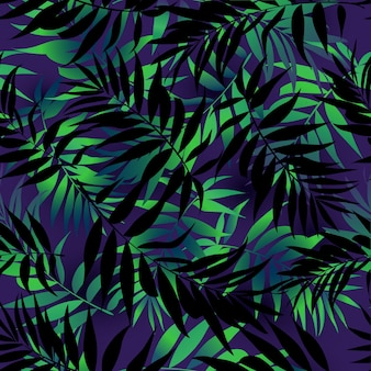 Seamless repeating pattern with silhouettes of palm tree leaves on background.