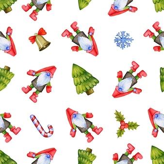 Бесшовный повторяющийся узор с милыми рождественскими гномами, елками и украшениями, изображенными на белом ...