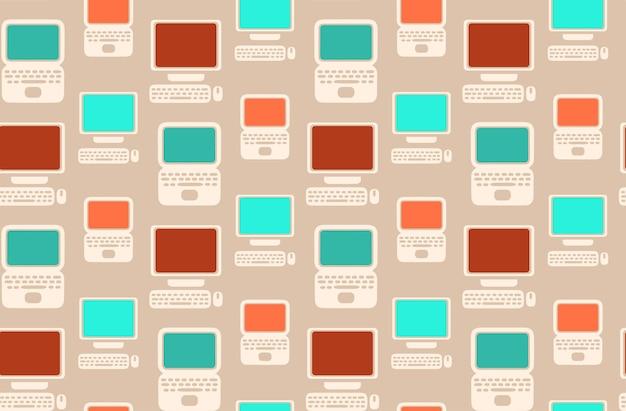 あなたのための平らなラップトップとコンピュータとのシームレスなレトロなパターン