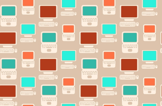 Seamless retro pattern with flat laptops and computers for your