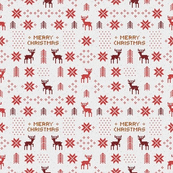 Seamless retro red christmas pattern with deers