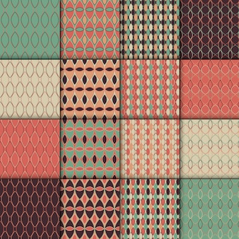 Seamless retro style pattern set. simple geometric  texture collection . set of 16 backgro