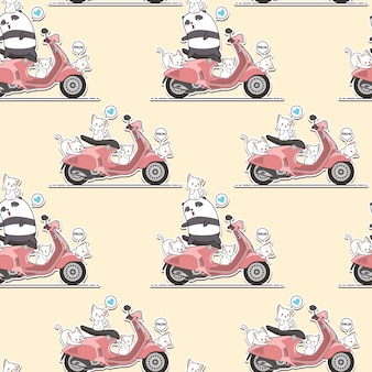 シームレスなライダーパンダとピンクのオートバイのパターンを持つかわいい猫。