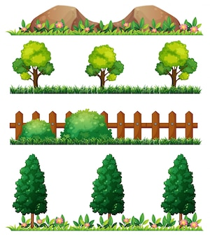 Seamless rocks and fences illustration