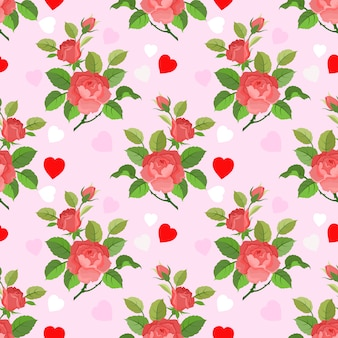 Seamless romantic pattern with roses and heart shapes.