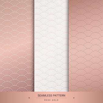Seamless rose gold patterns set.